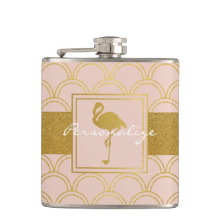 Flamingo Retro Pink and Faux Gold Vintage Hip Flask