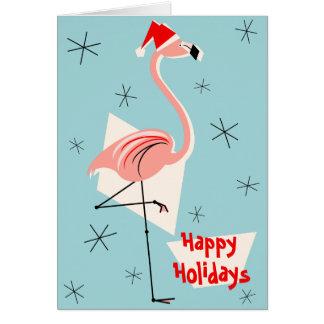 Flamingo Santa Blue Happy Holidays Card