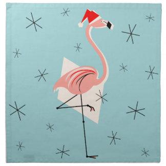 Flamingo Santa Blue napkin set