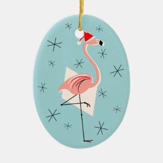 Flamingo Santa Blue Text ornament oval