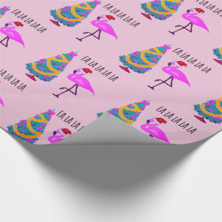 Flamingo Santa Pink Christmas Wrapping Paper