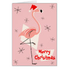 Flamingo Santa Pink Merry Christmas Card