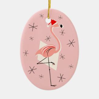 Flamingo Santa Pink Text ornament oval