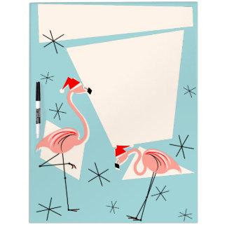 Flamingo Santas Blue dry erase board