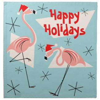 Flamingo Santas Blue Happy Holidays napkin set