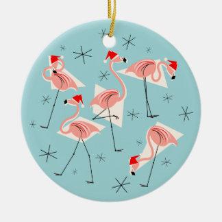 Flamingo Santas Blue Happy Holidays round Round Ceramic Decoration