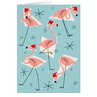Flamingo Santas Blue Merry Christmas blue Card