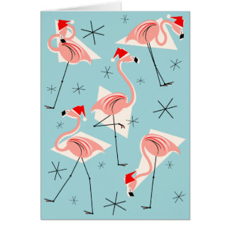 Flamingo Santas Blue Merry Christmas blue Greeting Card