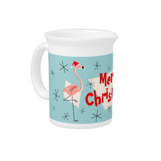 Flamingo Santas Blue Merry Christmas pitcher