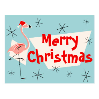 Flamingo Santas Blue Merry Christmas postcard