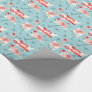Flamingo Santas Blue Merry Christmas Wrapping Paper