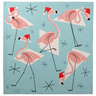 Flamingo Santas Blue napkin set