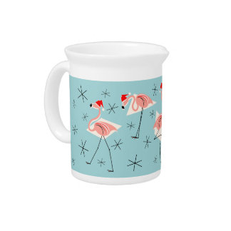 Flamingo Santas Blue pitcher