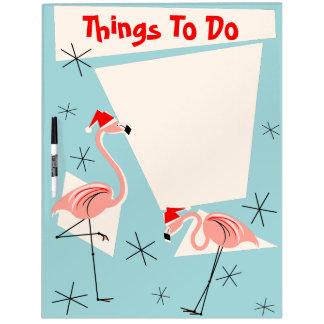 Flamingo Santas Blue Text dry erase board