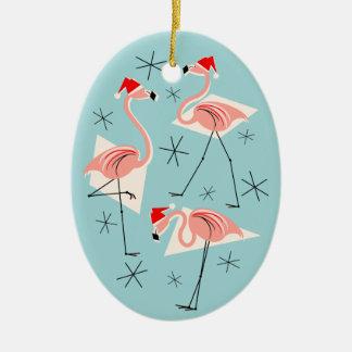 Flamingo Santas Blue Text ornament oval