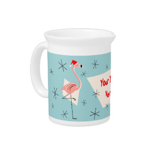 Flamingo Santas Blue Text pitcher