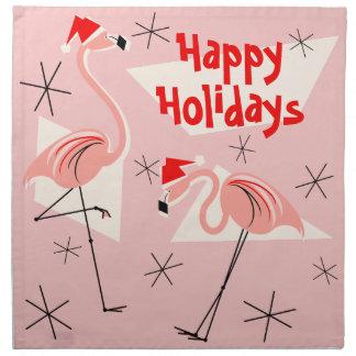 Flamingo Santas Pink Happy Holidays napkin set