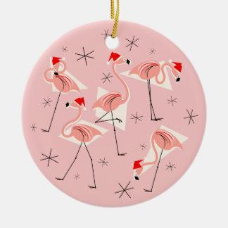 Flamingo Santas Pink Happy Holidays round Round Ceramic Decoration