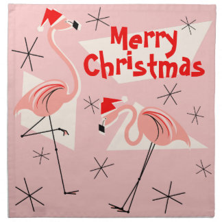 Flamingo Santas Pink Merry Christmas napkin set