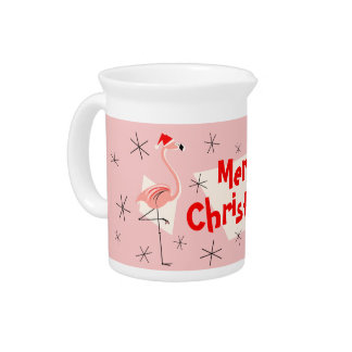 Flamingo Santas Pink Merry Christmas pitcher