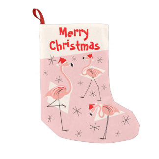 Flamingo Santas Pink Merry Christmas stocking