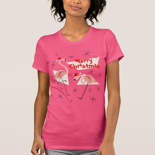 Flamingo Santas Pink Merry Christmas women's T-Shirt