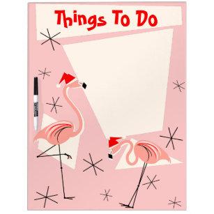 Flamingo Santas Pink Text dry erase board