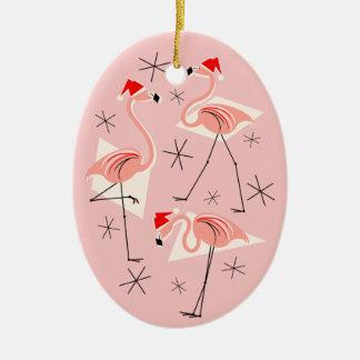Flamingo Santas Pink Text ornament oval