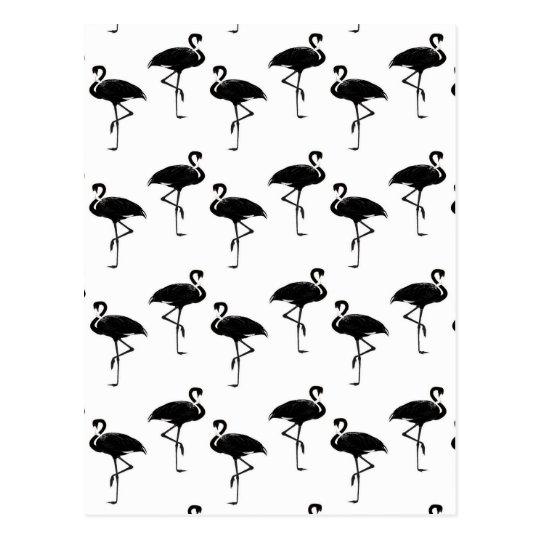 Flamingo Silhouettes Pattern Black White Postcard