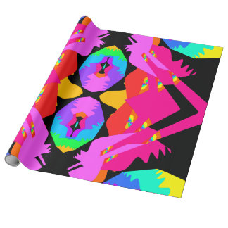 Flamingo Splash Fractal Gift Wrap Wrapping Paper