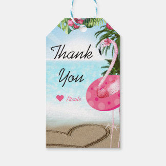 Flamingo Summer Beach Birthday Party Custom Favor Gift Tags