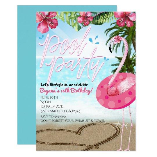 Flamingo Summer Birthday POOL PARTY Invitations