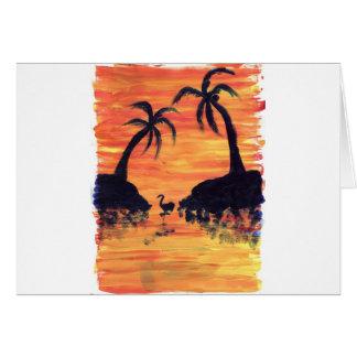 Flamingo Sunset Card