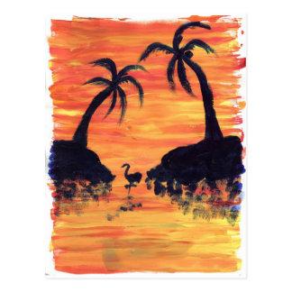 Flamingo Sunset Postcard