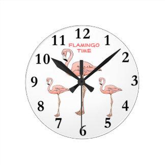 FLAMINGO TIME 3 Pink Flamingo Birds Round Clock