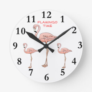 FLAMINGO TIME, 3 Pink Flamingo Birds Round Clock