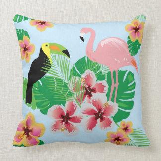 Flamingo Toucan Cotton Throw Pillow