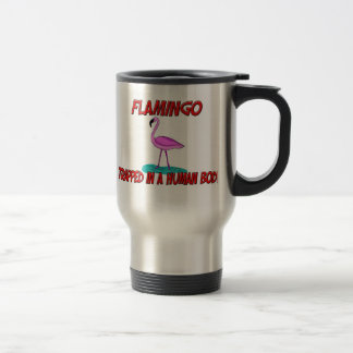 Flamingo trapped in a human body travel mug
