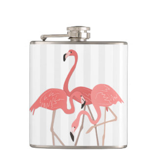 Flamingo Trio and Stripes Hip Flask