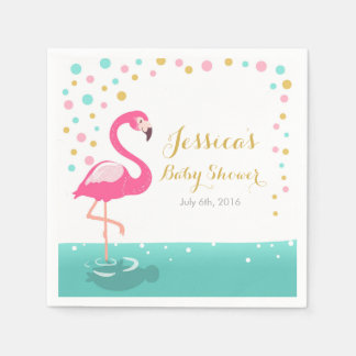 Flamingo Tropical Baby Shower Paper Napkin Girl