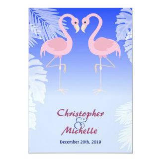 Flamingo Tropical Beach Wedding Invitations