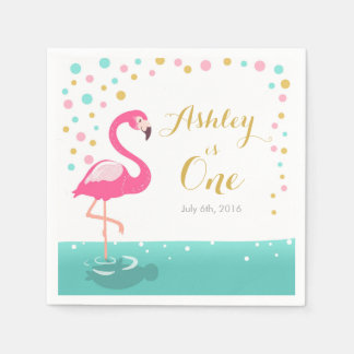 Flamingo Tropical Birthday Party Paper Napkin Girl