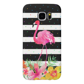 Flamingo Tropical Flowers & Black Stripes Pattern Samsung Galaxy S6 Cases
