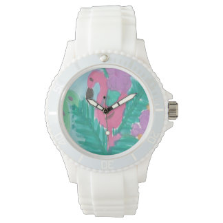 Flamingo Tropical Jungle Watch