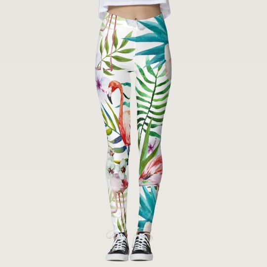 Flamingo Tropical mint nature garden pattern Leggings