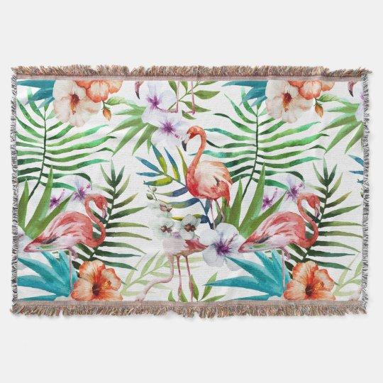 Flamingo Tropical natural garden pattern mint Throw Blanket