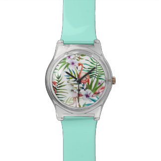 Flamingo Tropical nature garden pattern mint Wristwatches