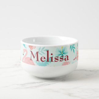 Flamingo Tropical Paradise Soup Mug