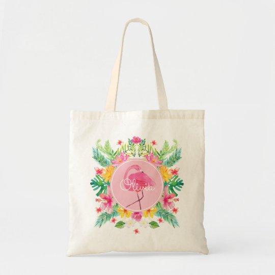 Flamingo Tropical Watercolor Bachelorette Tote Bag
