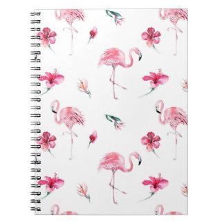 Flamingo Tropics Summer Island Chic Hibiscus Pink Note Book